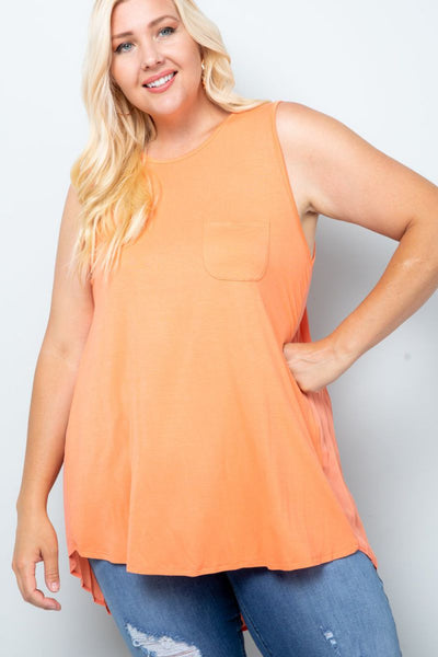Charming You Boutique | Women's Top | Plus Size Sleeveless Back Pleat