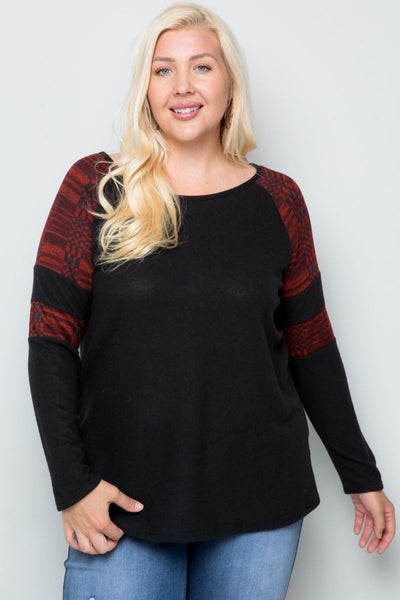 Charming You Boutique | Women's Top | Plus Size Long Sleeve Raglan
