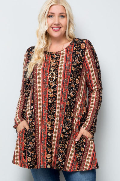 Charming You Boutique | Women's Tunic | Plus Size Long Sleeve Tunic