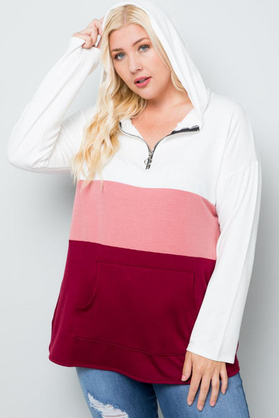 Plus Size Won't Forget You Color Block Hooded Top - Charming You Boutique | Online Women's Clothing