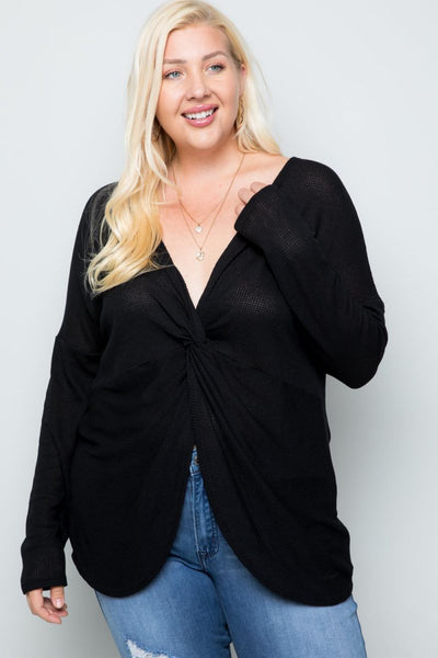Charming You Boutique | Women's Top | Plus Size Long Sleeve Detail Top