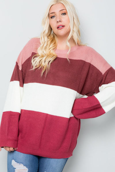 Charming You Boutique | Women's Top | Plus Size Color Block Sweater
