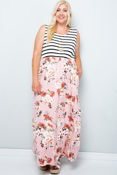 Charming You Boutique | Plus size Women's Sleeveless Maxi Dresses , blush