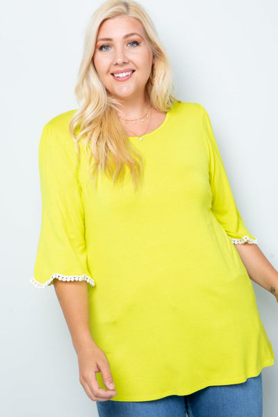 Charming You Boutique | Women's Top | Plus Size Short Sleeve Trim