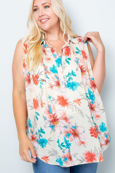 Charming You Boutique | Women's Top | Plus Size Floral Sleeveless Top