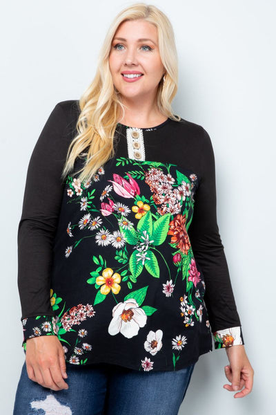 Charming You Boutique | Women's Top | Plus Size Floral Long Sleeve