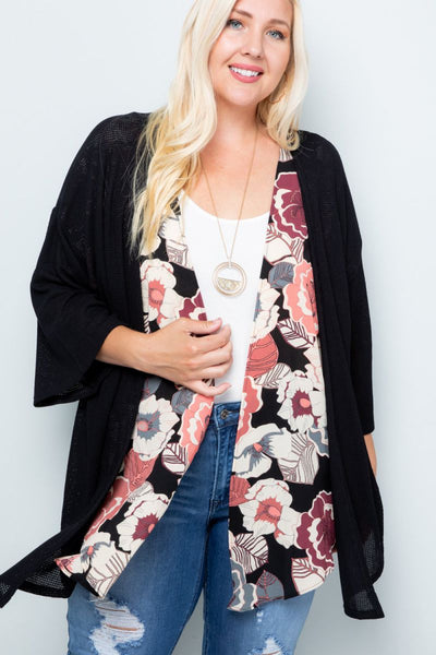 Charming You Boutique | Women's Cardigan | Plus Size Floral Contrast