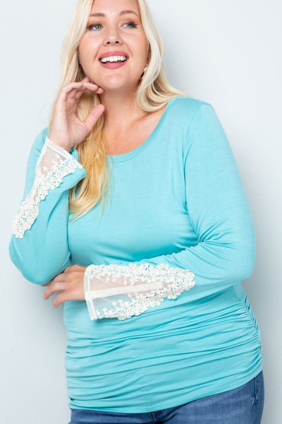 Charming You Boutique | Women's Top | Plus Size Long Sleeve Lace Patch