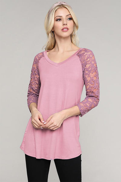 Charming You Boutique | Women's Top | Trendy Floral Lace Sleeve Top