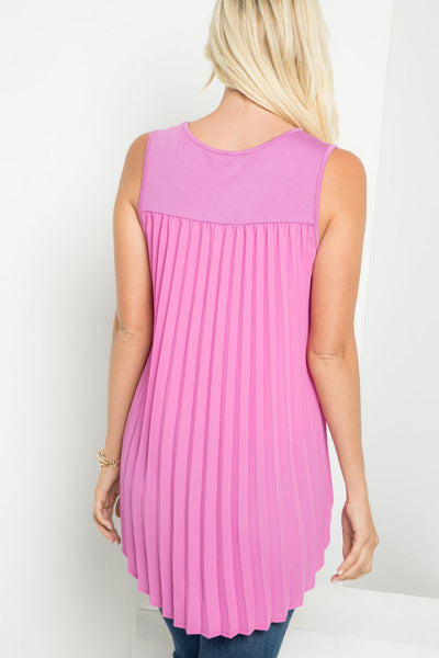 Charming You Boutique | Women's Top | Sleeveless Front Pocket Pleats