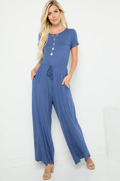 Charming You Boutique | Women's Jumpsuit | Solid Short Sleeve Jumpsuit