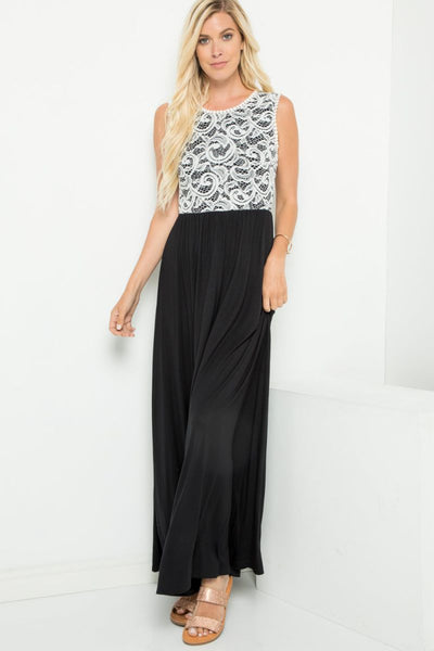 Charming You Boutique | Women's Dress | Sleeveless Lace Contrast Maxi