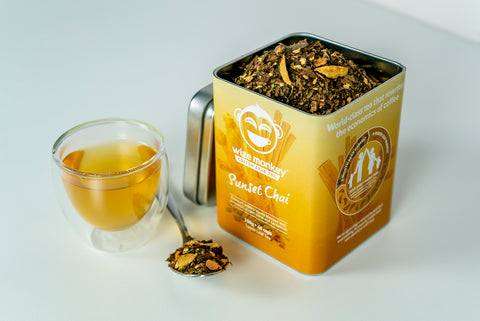 Wize Monkey Sunset Chai Coffee Leaf Tea fall spice loose leaf tin