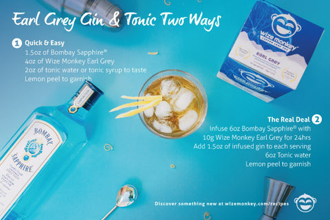 Wize Monkey Earl Grey Gin and Tonic Recipe Coffee Leaf Tea Two Ways