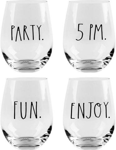 Rae Dunn S/4 Party Fun 19oz Stemless