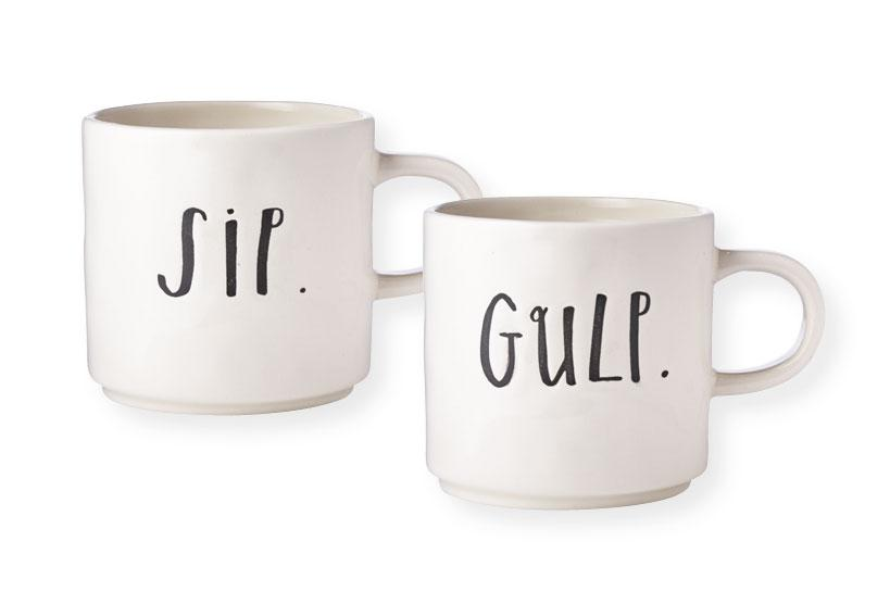 Rae Dunn Stem Print Sip and Gulp Mugs