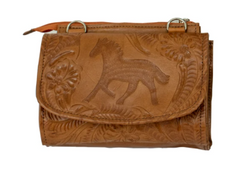 American West Handbag Collection Leather Crossbody Equestrian Trail Rider Natural Tan