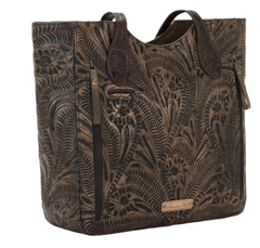 American West Hand Tooled Collection Leather Concealed Carry Tote Back