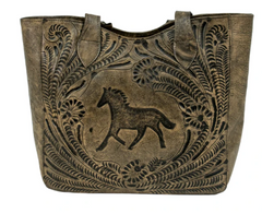 American West Hand Tooled Collection Leather Concealed Carry Tote Front