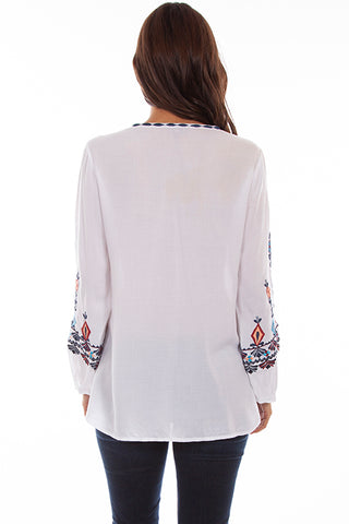 Women's Honey Creek Pullover Embroidered Tunic White Back