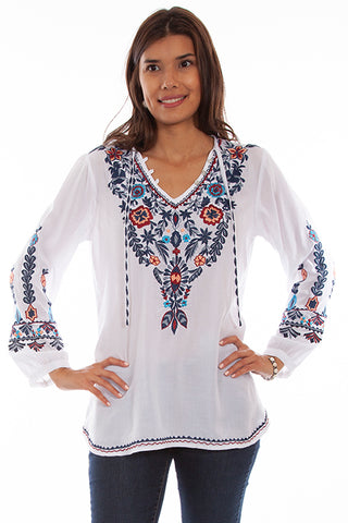 Women's Honey Creek Pullover Embroidered Tunic White Front