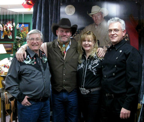 Barry Ward with Jim and Bobbi Jean Bell of OutWest and Leon Warden Director of SCVTV