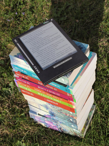 Book Stack with Tablet