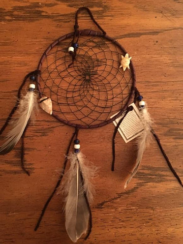 Authentic Navajo Dream Catcher 6 Inch with Turtle Totem and Black Web