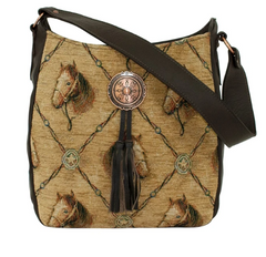 American West Handbag Collection Horse Print Tapestry Hobo
