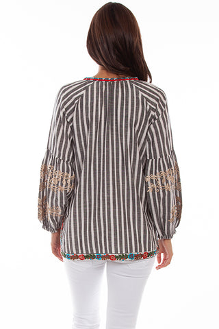 Scully Honey Creek Floral Embroidered Stripe Top Back