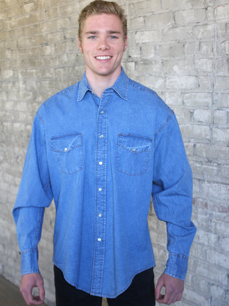 Men's Western Shirt Collection: Rockmount Denim Stonewashed