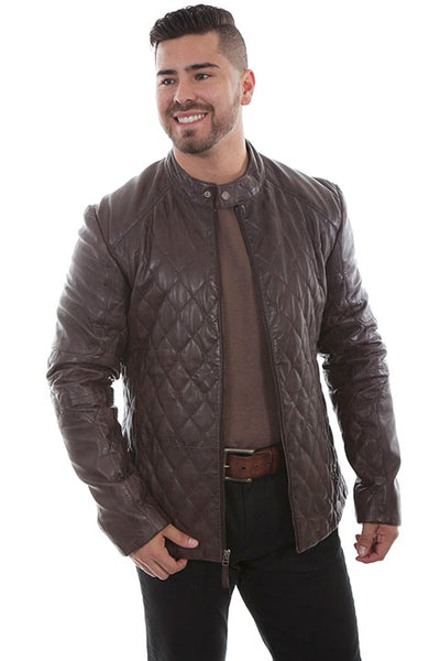 Scully Men's Leather Jacket Contemporary Quilt Design Black Front