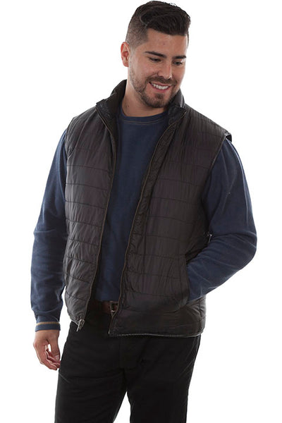 Men's Scully Reversible Ribbed Leather Vest Black Front