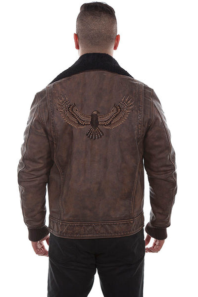 Men's Scully Leather Bomber Jacket with Eagle and Faux Fur Brown Back