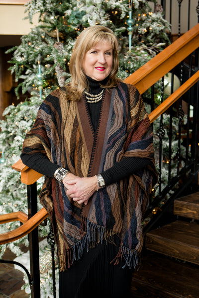 Rhonda Stark Italian Acrylic Knit Shawl Cappuccino Wave Pattern with Fringe, Front