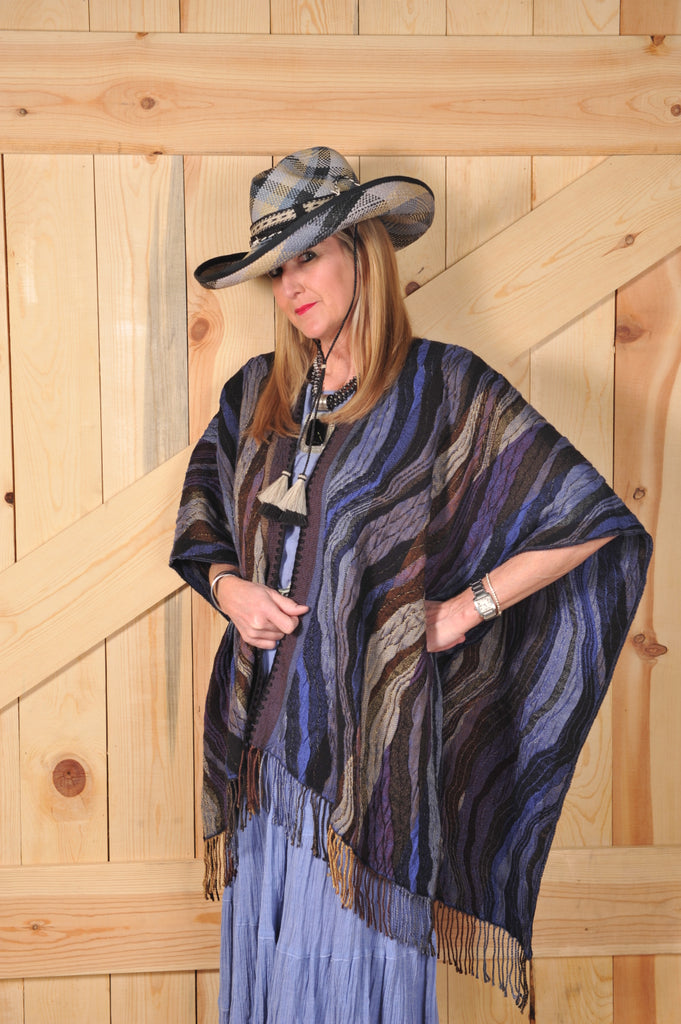 Rhonda Stark Italian Acrylic Knit Shawl Midnight Wave Pattern with Fringe, Front