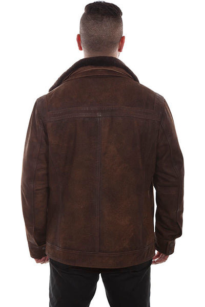 Scully Men's Leather Jacket with Removable Faux Shearling Collar Old Brown Front