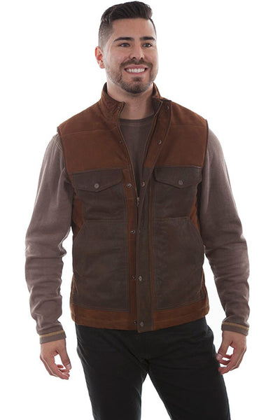 Men's Scully Outdoor Vest Two Tone Suede Lamb Front