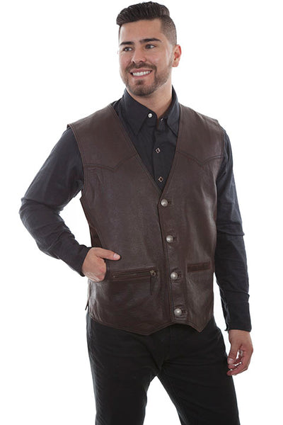 Men's Scully Rugged Lamb Western Vest Button Front Brown