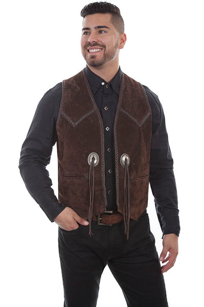 Men's Scully Suede Western Vest with Handlacing and Conchos Front