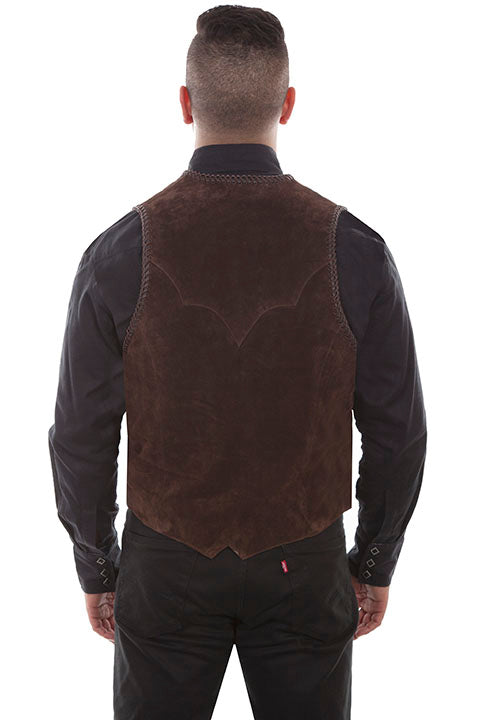 Men's Scully Suede Western Vest with Handlacing and Conchos Back