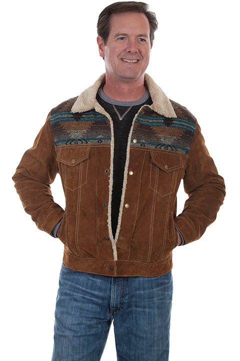 Men's Scully Suede Jean Jacket with Decorative Knit Inset Brown Front