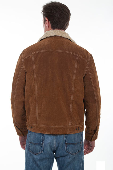 Men's Scully Suede Jean Jacket with Decorative Knit Inset Brown Back