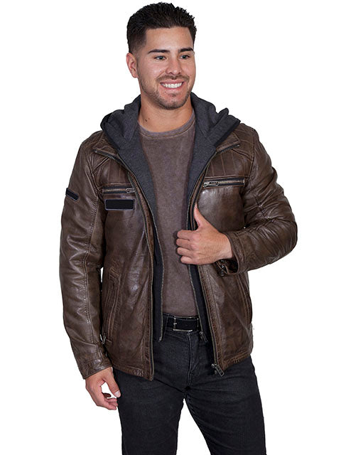 Men's Scully Leather Jacket with Zip Out Hood Brown Antique Lamb Front