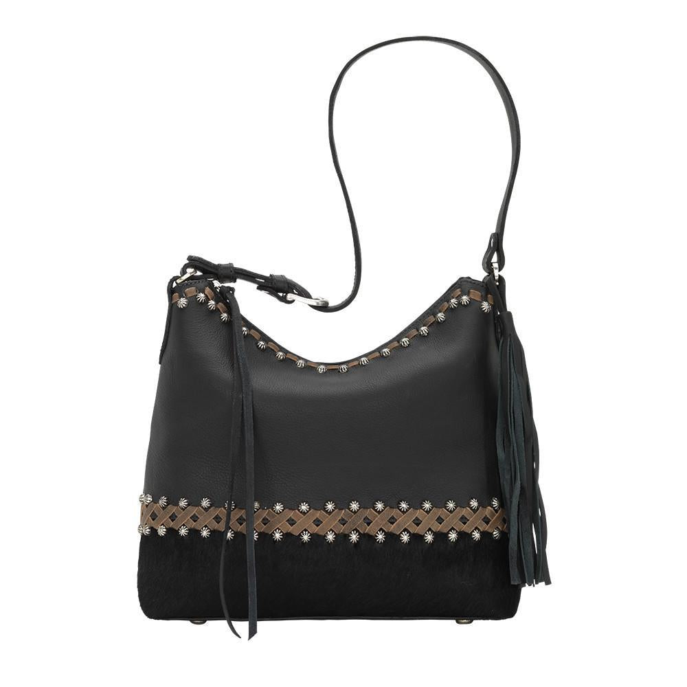 American West Handbag Wild Horses Collection: Leather Zip Top Shoulder Hair on Hide