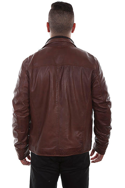 Scully Men's Leather Jacket with Quilted Insert Brown Front