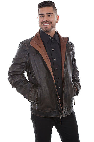 Men's Scully Black Leather Jacket with Zip Front Two Tone Collar Front
