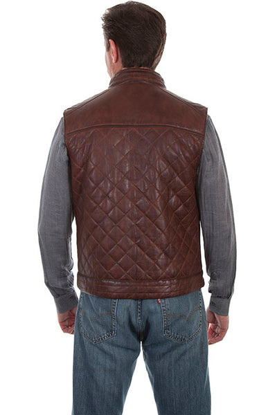 Scully Men's Leather Vest Quilted with American Eagle on Back Brown Front