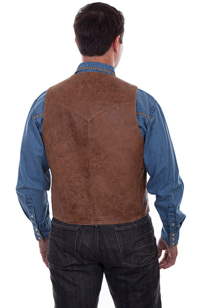 Scully Men's Brown Western Leather Five Button Front Vest