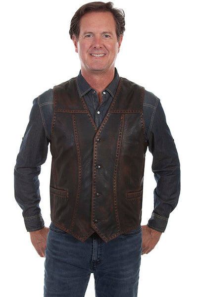 Men's Leather Vest Collection: Scully Buck Stitch Detail